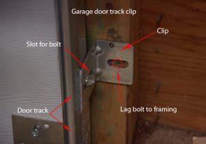 Garage door track clip
