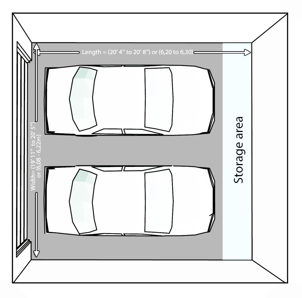 Size and layout specifics for a 2 car garage garage for Dimensions of two car garage